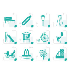 Stylized park objects and signs icon vector