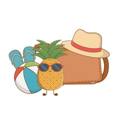 summer and fruits funny cartoons vector image