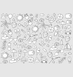 Summer symbols and objects drawing by hand vector