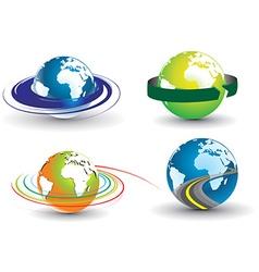 swirl globe set vector image
