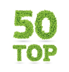 Top 50 text green leaves vector
