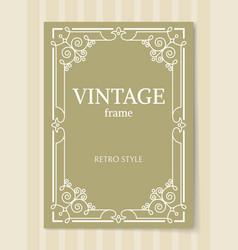 Vintage frame retro style decorative border corner vector