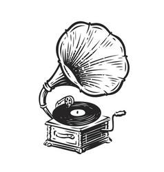 Vintage musical gramophone drawn antique vector