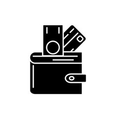 wallet with money black icon sign on vector image