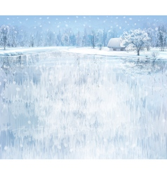 winter lake house vector image