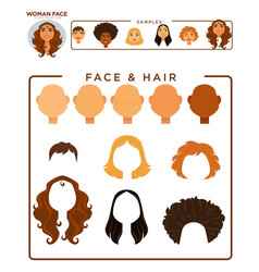woman face constructor with hair and face samples vector image