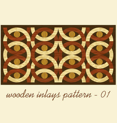 wood art inlay tile geometric ornament from dark vector image