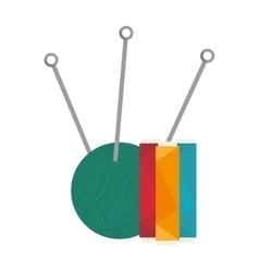 Yarn ball with needles vector