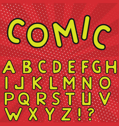 Yellow comic alphabet vector