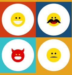 Flat icon emoji set of cheerful displeased grin vector