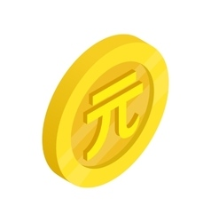 Gold coin with Taiwan dollar sign icon vector image vector image