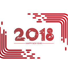 happy new 2018 year greeting card made in line vector image