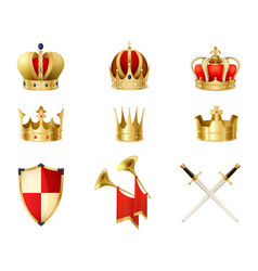 set of realistic golden royal crowns vector image