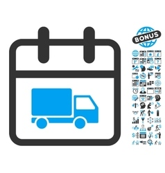 Shipping Day Flat Icon With Bonus vector image vector image