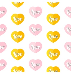 Colorful hearts with word love seamless pattern vector image vector image
