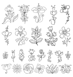 Doodles hand drawn stylized flowersbuds set vector image