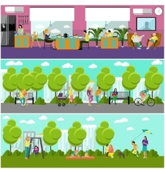 Family home and park concept banner people vector