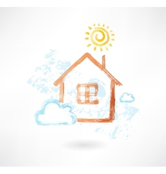 House in the sun and cloud grunge icon vector image vector image