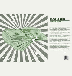 money welth concept - dollar bundle on the radial vector image