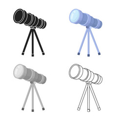 Telescope icon in cartoon style isolated on white vector