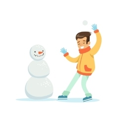 Boy playing snowballs nest to snowman traditional vector