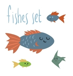 cute cartoon fishes set vector image