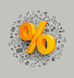 golden percent sign on icon background vector image