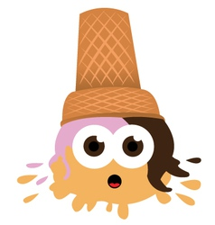 Ice Cream falls to the ground vector image vector image