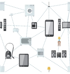 Mobile phone connected with house appliances vector image