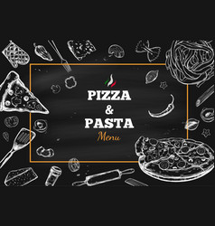pizza and pasta frame 1 vector image