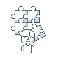 Puzzle pieces game flat icon vector