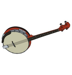 Red four strings banjo vector image