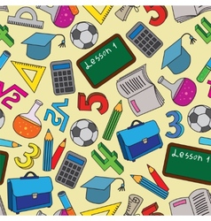 Seamless Pattern with school doodles vector image