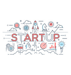startup ideas and new business development vector image vector image