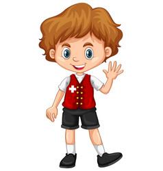 switzerland boy waving hello vector image vector image