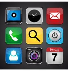 app icon set on a black background vector image vector image