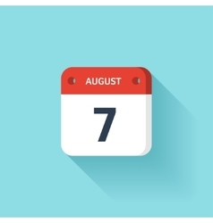 August 7 Isometric Calendar Icon With Shadow vector image vector image