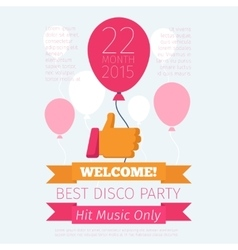 Celebrate or party poster with thumbs up and vector image