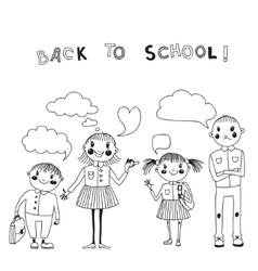 with students Back to school vector image