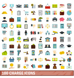 100 charge icons set flat style vector