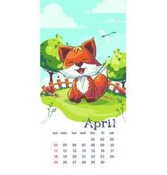 2021 calendar april funny cartoon fox vector