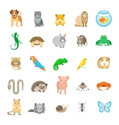 Animals pets flat colorful icons set vector image