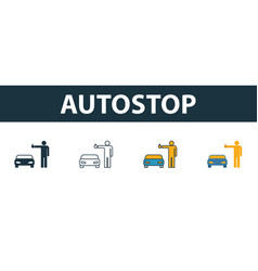 Autostop icon set four simple symbols in diferent vector