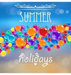 Baloons on the summer background with flares vector