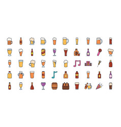 Beer glasses icon set line fill style vector