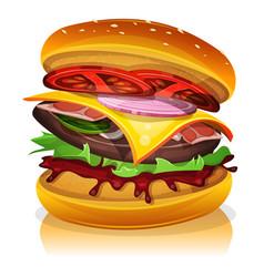 Big bacon burger vector