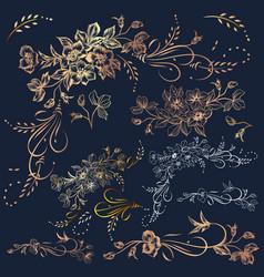 big collection set golden flourishes vector image