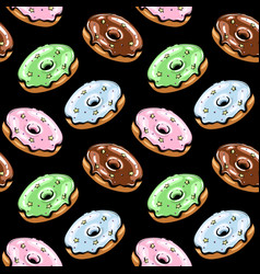 black glazed donut seamless pattern vector image