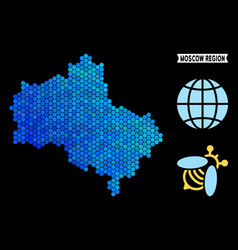 Blue hexagon moscow oblast map vector