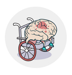 brain in a wheelchair vector image